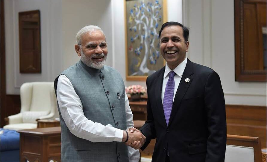 Congressman Raja Krishnamoorthi with Prime Minister of India, Mr. Narendra Modi, having strategic discussions on US India relations